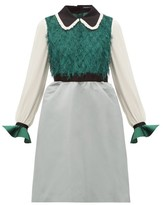Undercover Ruffled Fil Coupe And Crepe De Chine Dress - Womens - Green