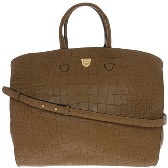 Coccinelle Angie Croco Soft Double Handle Brown Tote Bag