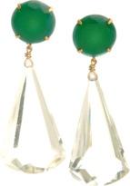 Bounkit JEWELRY Green Onyx and Quartz Drop Earrings
