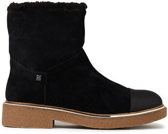 DKNY Fay Faux Shearling-lined Suede Ankle Boots
