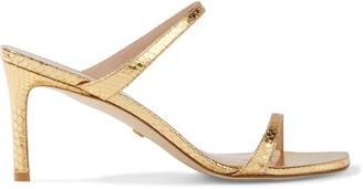 Stuart Weitzman Aleena 75 Metallic Snake-effect Leather Sandals