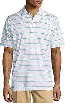 Peter Millar Striped Cotton Polo Shirt, White/Malibu