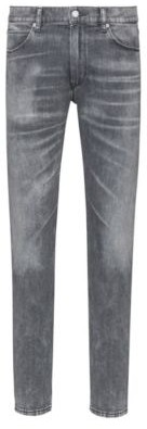 HUGO BOSS - Skinny Fit Jeans In Distressed Grey Stretch Denim - Charcoal