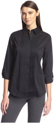 Society New York Women's Pleated Front Tunic Shirt