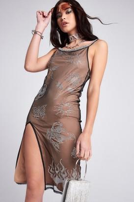 Jaded London Womens **Mesh Cami Damante Dress By Multi