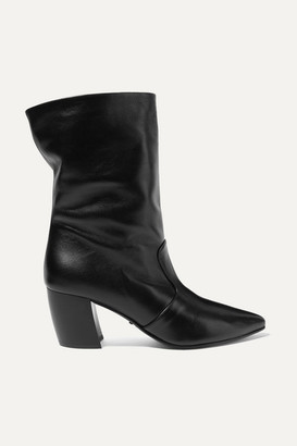 Prada 65 Leather Ankle Boots - Black