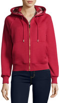 Burberry Check-Lined Hoodie, Red