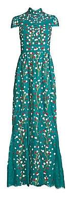 Alice + Olivia Women's Arwen Floral-Embroidered Cap Sleeve A-Line Gown