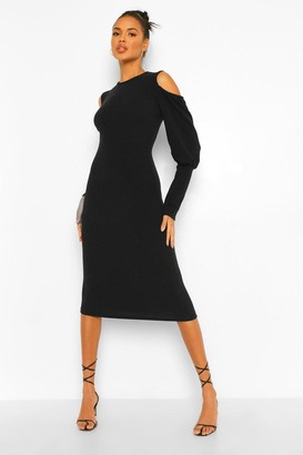 boohoo Rib Cut Out Shoulder Midi Dress