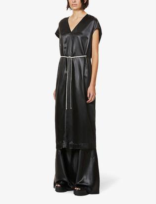 Rick Owens Island drawstring-waist faux-leather midi dress