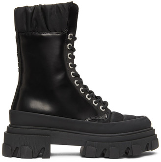 Ganni Black Brush Off Nylon Boots