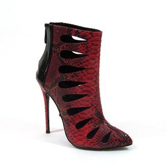 """The Highest Heel Highest Heel Fierce-31 Python Snake Print Booties with 4.5"""" Heel"""