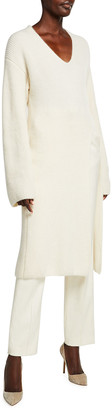 Sally LaPointe Airy Cashmere-Silk Long Tunic Sweater