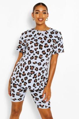 boohoo Maternity Leopard Rib Biker Short