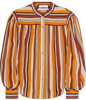 Frame Striped Silk-georgette Blouse
