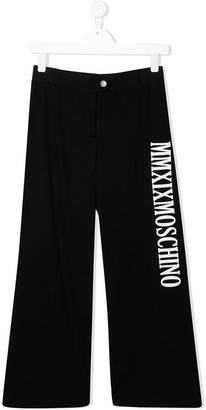 MOSCHINO BAMBINO TEEN logo print trousers