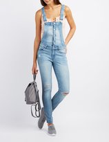 Charlotte Russe Refuge Distressed Denim Overalls