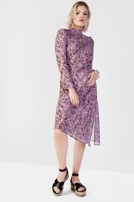 Glamorous Petites Womens **Floral High Neck Midi Dress By Glamorous Petite - Mauve