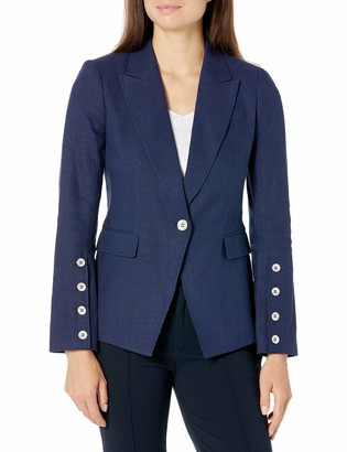Tahari ASL Women's Petite Front Button Sleeve Peak Lapel Jacket
