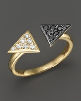 Bloomingdale's Black and White Diamond Arrowhead Ring in 14K Yellow Gold