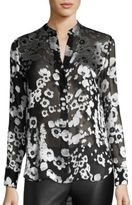 Alice + Olivia Belle Floral Burnout Satin Tunic