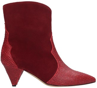 The Seller High Heels Ankle Boots In Red Suede And Leather