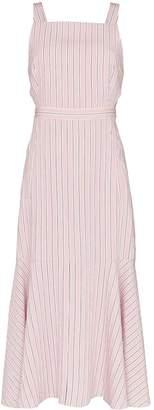 Tibi striped cut-out midi-dress