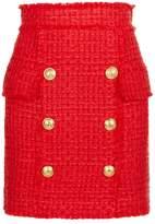 Balmain Button Embellished Tweed Skirt