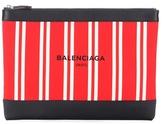 Balenciaga Navy canvas and leather clutch