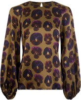 Phoebe Grace Georgie Balloon Sleeve Top in Giant Pansy Print