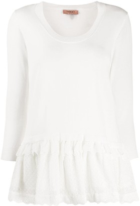 Twin-Set Broderie Anglaise Trim Jumper