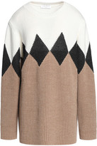 Sandro Color-Block Intarsia Wool-Blend Sweater