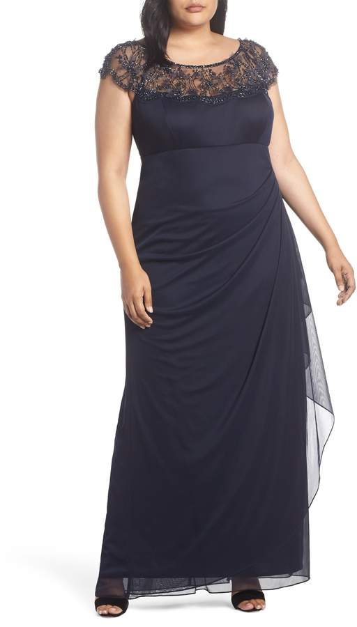 Xscape Evenings Ruched Side Beaded Gown