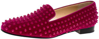 Christian Louboutin Pink Suede Leather Rolling Spikes Loafers Size 39