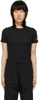 Champion Reverse Weave Black Logo Tight Crop T-Shirt