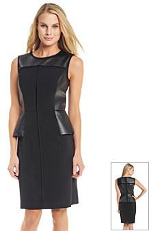 Calvin Klein Faux Leather Peplum Dress