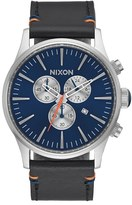 Nixon 'Sentry' Chronograph Leather Strap Watch, 42Mm