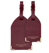 Aspinal of London Set of 2 Luggage Tags Burgundy Saffiano