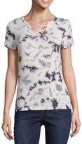 Arizona Short Sleeve Criss Cross T-Shirt-Womens Juniors