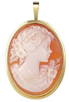 Del Gatto Young Girl Cornelian Cameo Pendant/Pin