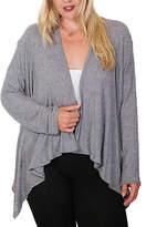 Gray Sidetail Open Cardigan - Plus
