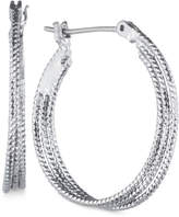 Nine West Silver-Tone Hammered Hoop Earrings
