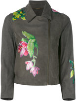 Blumarine floral print biker jacket - women - Sheep Skin/Shearling/Polyester/Polyurethane - 42