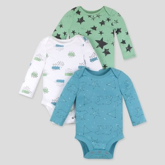 Lamaze Baby 3pk Star Printed Organic Cotton Bodysuit - /Teal
