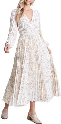 En Saison Floral Long Sleeve Pleated Midi Dress