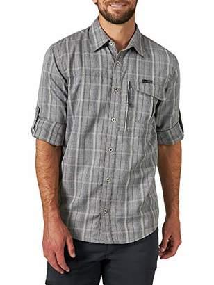 Wrangler ATG by Men's Long Sleve Heathered Plaid Utility Shirt