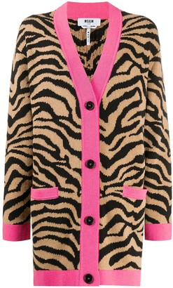MSGM Oversized Zebra-Jacquard Cardigan