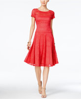 Sangria Short-Sleeve Lace Fit & Flare Dress