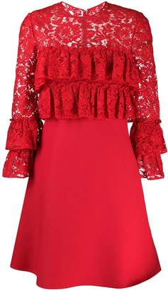 Valentino lace detailed ruffle dress