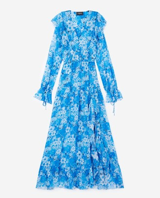 The Kooples Long blue dress with floral print
